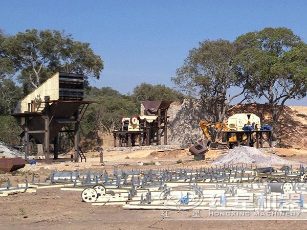 时产100吨瓜子片破碎生产线安装现场